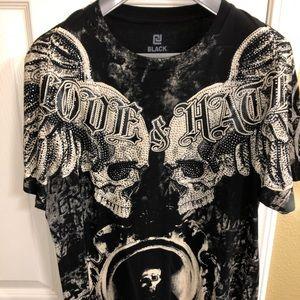 Men's BLACK Love Hate Skull Nation studded shirt